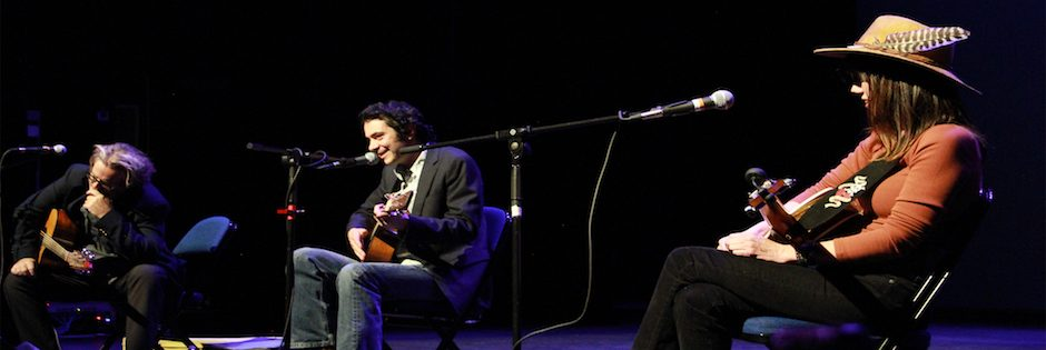 Fantastic evening w MAX GOMEZ, JOE WEST & ELIZABETH SCARINZI! Watch for more songwriters in the round events. Photo by Tom Mauter.